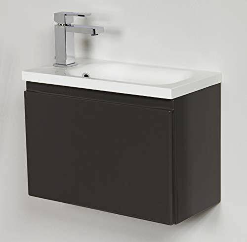 Quentis Waschplatzset Faros, Breite 50 cm, Waschbecken und Unterschrank, anthrazit glänzend, Waschbeckenunterschrank montiert