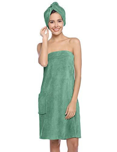 Women's Body Wrap Towel with Adjustable Closure Spa Wrap Set Bathrobe Green XS