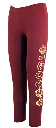 Guru-Shop Psytrance Damen Leggings, Chakra Yoga Leggings, Yogahose, Bordeauxrot, Baumwolle, Size:S/M (36), Shorts, 3/4 Hosen, Leggings Alternative Bekleidung