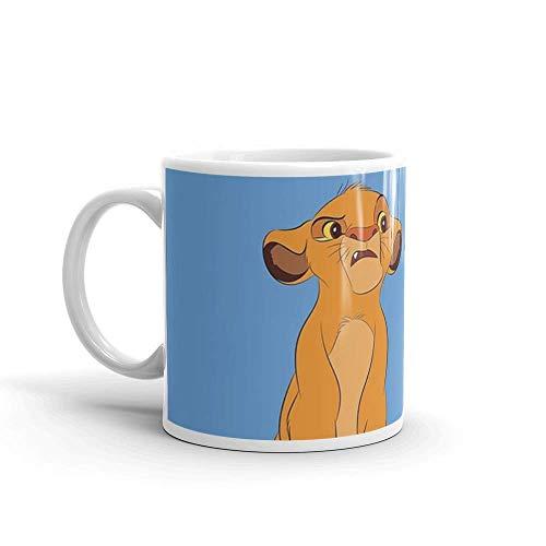Simba y Nala. La taza de café de cerámica de 11 onzas también es una gran taza de té con su asa en C grande y fácil de agarrar. Tazas de cerámica brillantes de 11 onzas de regalo para amantes del café