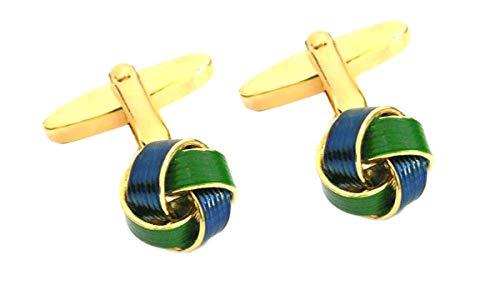 Unbekannt Knoten Manschettenknöpfe grün blau vergoldet 11 mm Durchmesser m.i. Germany + Blauer Exklusivbox