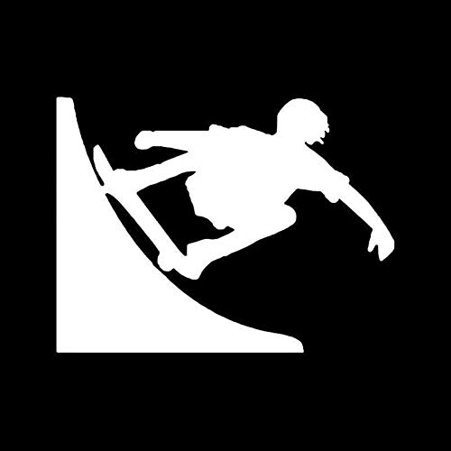 DUC993 Aufkleber für Skateboard-Halfpipe, Vinyl, 14 x 10,2 cm, Weiß