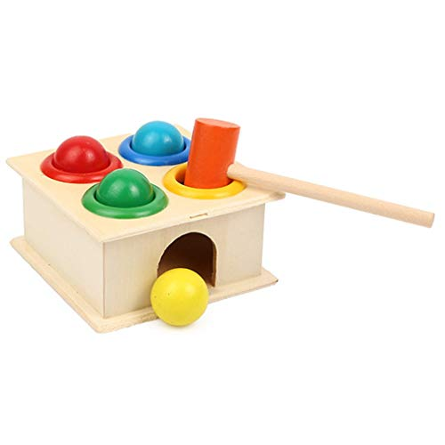 Kinshops 1 Set Wooden Hammering Ball Hammer Box Children Fun Playing Hamster Game Toy Early Learning Educational Toy 🔥