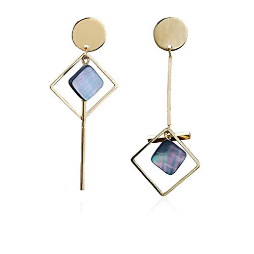 Odoukey Joyería 1 par asimétrica Pendientes Cuadrados geométrico Colgante para la Mujer