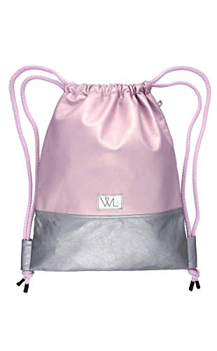 Wunleder gymtas lederen rugzak, roze metallic/zilver, 100% echt leer, roze, metallic, zilver