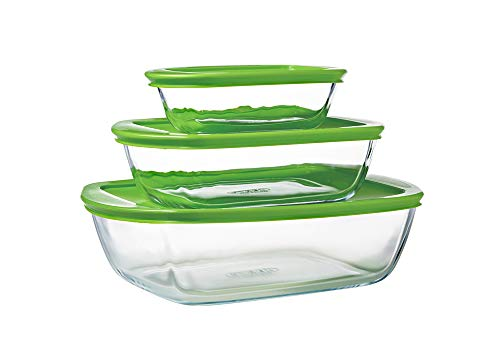 Pyrex® - Cook & Store - Lot de 3 plats de conservation rectangulaires en verre avec couvercles (0,4l, 1,1l et 2,5l) - Sans BPA