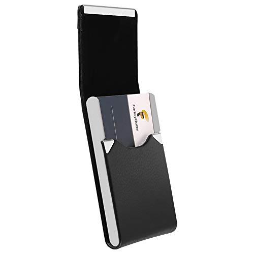 dorisdoll visitekaarthouder PU leder/roestvrij staal met magneet slanke naam kaart organisator Case 20 kaarten capaciteit RFID blokkeren credit card portemonnee (zwart)