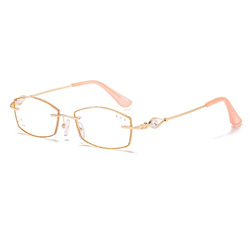 Stand Ladies Fashionable Reading Glasses, Blue Light Blocking and Anti-Fatigue Computer Glasses, Diamond Border Eyeglasses(Gold) (1.0, 1.5, 2.0, 2.5, 3.0)