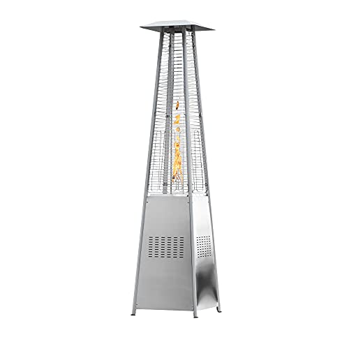 Royal Garden Patio Heater - Outdoor Patio Heater - 48000 BTU Propane Based - Stainless Steel Construction - Pyramid Design with Glass made in Japan - Commercial & Residential