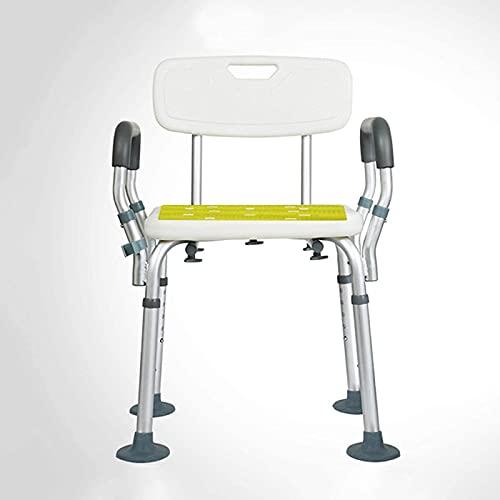 PJPPJH Duschstuhl für ältere Menschen Höhenverstellbarer Duschsitz mit Armlehnen und Rückenlehne Duschhilfe Senioren und behindertengerecht Badezimmer Duschhocker Traggewicht 150 kg Badewannenlifte,B