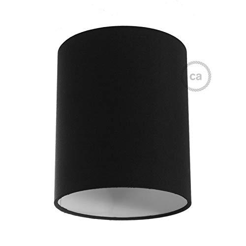 creative cables Zylinderförmiger Lampenschirm aus Stoff mit E27-Fassung, 15 cm Durchmesser, 18 cm Höhe - Made in Italy - Leinwand Schwarz