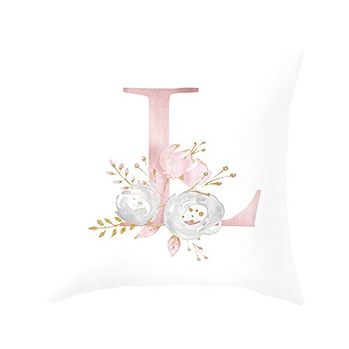 Zengmei Throw Pillow Covers 26 Decorative English Letters 18x18 inches Floral Pillowcases Peach Skin Polyester Velvet Soft Cushion Cover White Pillow Protectors for Sofa Bedding Car Home Decor(L New)