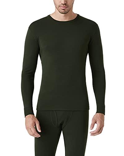 LAPASA Camiseta Interior Térmica Ligera de 100% Lana Merino para Hombre Manga Larga Cuello Redondo Capa Interior M29 M Verde