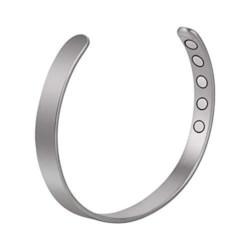 Jecanori Men's Titanium Magnetic Therapy Bracelet   Matte Plain Light Cuff Bangle for Arthritis, Pain Relief, Tennis/Golf Elbow, Carpal Tunnel Syndrome (Silver   Medium)