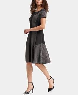 DKNY Womens Black Color Block Cap Sleeve Jewel Neck Knee Length A-Line Wear To Work Dress US Size: XL