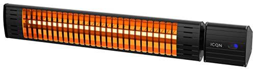 ICQN Halogen Ultra Low Glare Heizstrahler 2000 Watt mit Fernbedienung | IP55 | Terrassenheizstrahler | Infarotstrahler | Infarotheizung für Terrasse | Art Serie Halogen Low Glare IA2000.UR