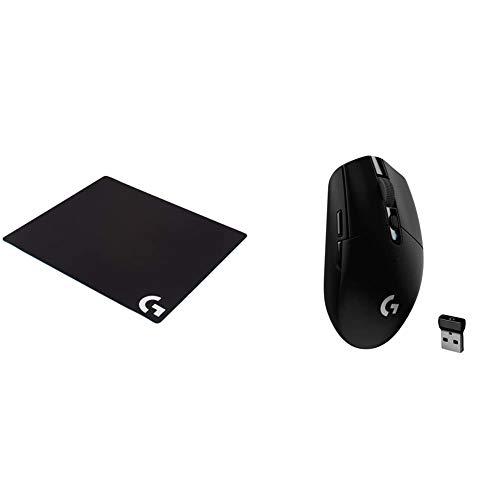 logitech G G640 Large Cloth Gaming Mousepad - Black & G305 Lightspeed Wireless Gaming Mouse, Black