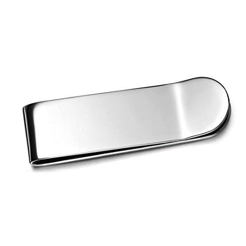 JewelryWe - Fermasoldi classico in acciaio inox lucidato effetto argento per uomo, con sacchetto regalo
