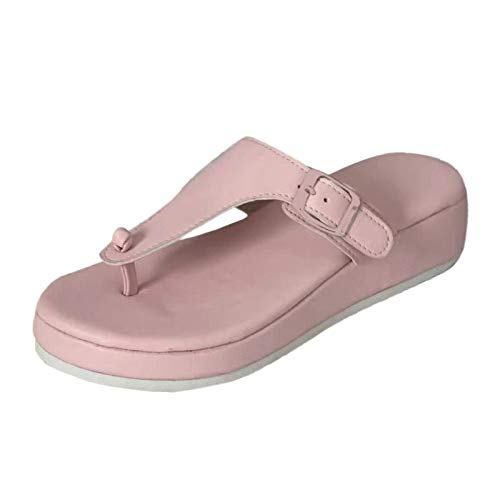 Women's Fashionable Flip Flops Comfortable Soft Slippers Water Proof Heeled Sandals,Women's Pillow Slides Beach Leather Footbed Adjustable Slides,Summer Ultra-Soft Open Toe Style Slippers Pink 40