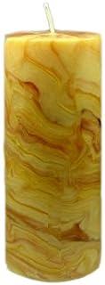 Bienenwachs Stumpenkerze, 80 x 30 mm, marmoriert, reine Handarbeit