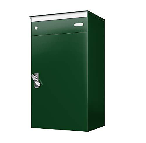 sbox 17 Briefkasten, Briefkasten mit gesichertem Paketschliessfach, einfache Selbstmontage, Hochwertiges Aluminium, 440x800x340mm, Handgefertigt (Moosgrün (RAL 6005))