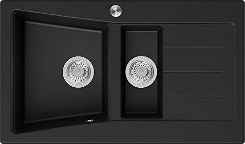 Granitspüle Schwarz 88 x 52 cm, Spülbecken + Siphon Pop-Up, Küchenspüle ab 60er Unterschrank, Einbauspüle Madrid von Primagran