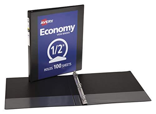 Avery 1/2 inch Economy View 3 Ring Binder, Round Ring, Holds 8.5' x 11' Paper, 1 Black Binder (05705)