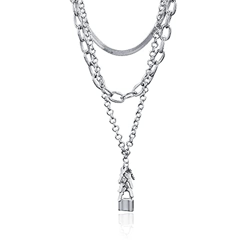 Temperament Wild Ins Necklace Key Lock Pendant Multi-Layered Wear Trend Snake Bone Chain