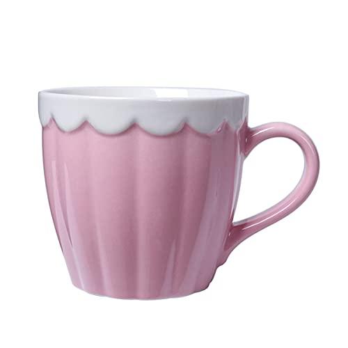 GYZD Taza de café de cerámica Grande, Taza de té Grande para Oficina y hogar, lavavajillas (Rosa)