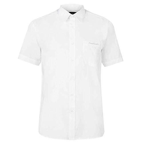 Pierre Cardin - Camisa Casual - con Botones - con Botones - Manga Corta - para Hombre Blanco Large