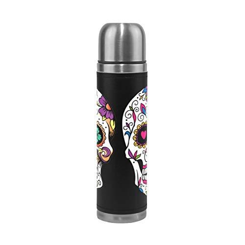 XiangHeFu Mantenga la Botella de Agua fría o Caliente Taza de Viaje a Prueba de Fugas Café Patrón de Arte Calavera de azúcar Dia De Los Muertos Termo Mexicano de Acero Inoxidable