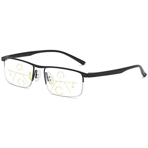 KOOSUFA Gleitsichtbrille Progressive Multifokus Lesebrille Herren Damen Metallrahmen Anti-Blaulicht Lesebrille Lesehilfe Sehhilfe Halbrandbrille 1.0 1.5 2.0 2.5 3.0 3.5 4.0 (1x Schwarz, 2.0)