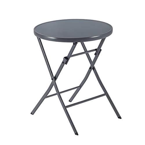 Naterial - Gartentisch rund EMYS - Bistrotisch mit Glasplatte - Klappbar - 2 Personen - Ø 60 cm - Stahl und gehärtetes Glas - Anthrazit