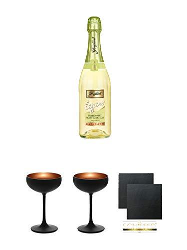 Freixenet Legero alkoholfrei Spanien 0,75 Liter + Sektschale Stölzle 2 Gläser - Olympic Serie matt-schwarz 2739408