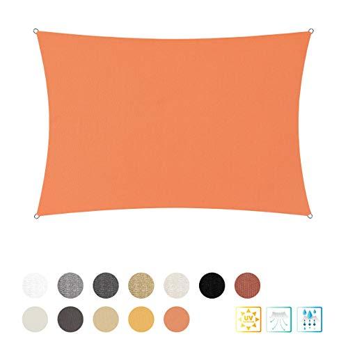 Lumaland Toldo Rectangular con Cuerdas de sujeción | Poliéster con Doble Revestimiento de PU | Rectangular de 3 x 4 Metros | 160 g/m² - Color Naranja