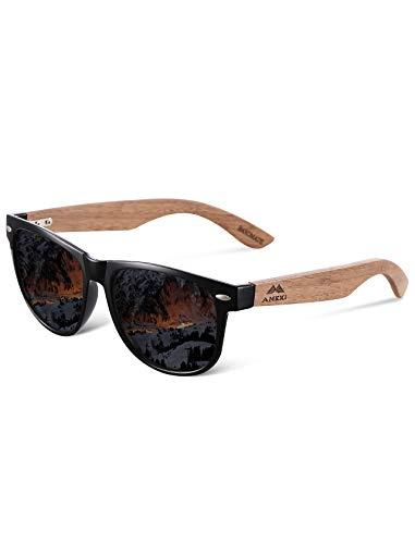 MIAROZ Sonnenbrille aus polarisiertem Walnussholz für Männer und Frauen | Schwarze polarisierte Gläser und echter Holzrahmen | 100% UVA/UVB-Strahlenschutz