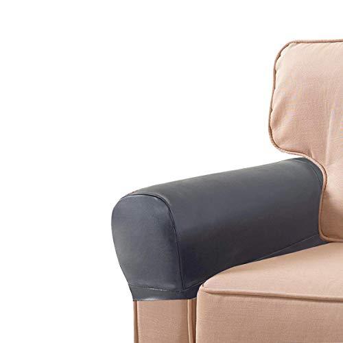 LERTREEUK 1 paio di copribraccioli in pelle PU per poltrone, copribraccioli, copridivano elasticizzato, colore grigio scuro, taglia unica (grigio scuro)