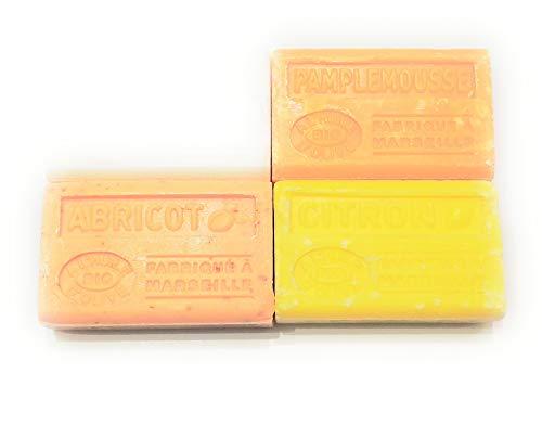 Label Provence - Lot de 4 savons à l'huile d'olive BIO ; Amande douce, Citron, Pamplemousse et Abricot. 4x125g