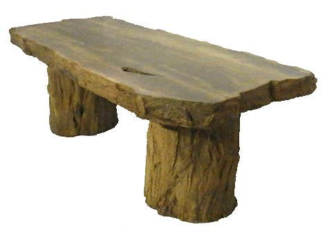 Handmade Fossilized Bench Concrete Table, CF-302 Petrified Log Bench Cast Stone Petrified Wood Table, Outdoor Garden Patio Bench