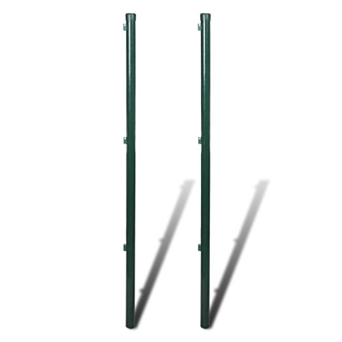 Festnight 2er-Set Metall Zaunpfosten Zaunpfahl Eisen Höhe 200cm Dunkelgrün für Maschendrahtzaun Gartenzaun