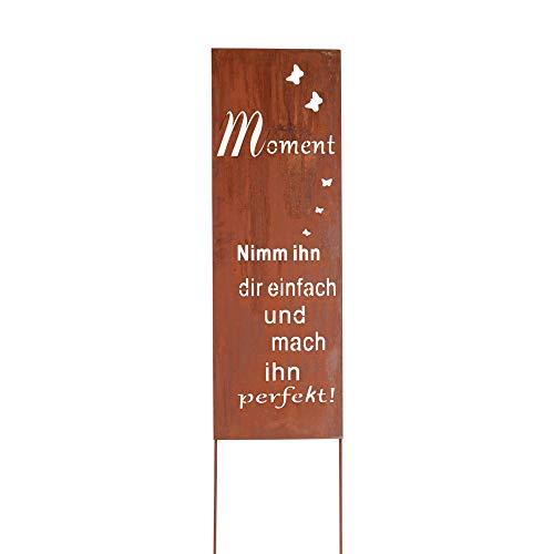 RM Design Gartendekoration Roststecker Metallschild mit Spruch Moment 90 x 30,5 cm