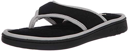 Dearfoams womens Thong Slipper, Black Solid, Large US