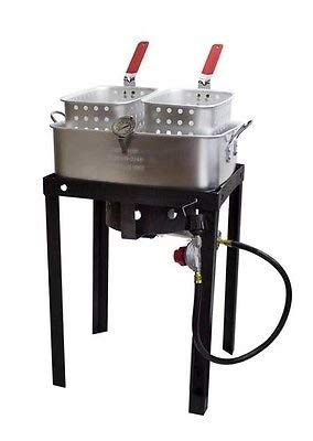 Outdoor 50,000 BTU 18 Qt Propane Gas Dual Basket Tailgate Party Fun Deep Fryer