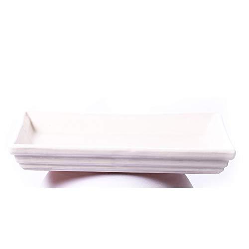 ALFAREROS DAMIAN CANOVAS Plato Rectangular para Bonsai ESMALTADO EN Color Blanco.Medidas 28X22X2.Modelo E4BR