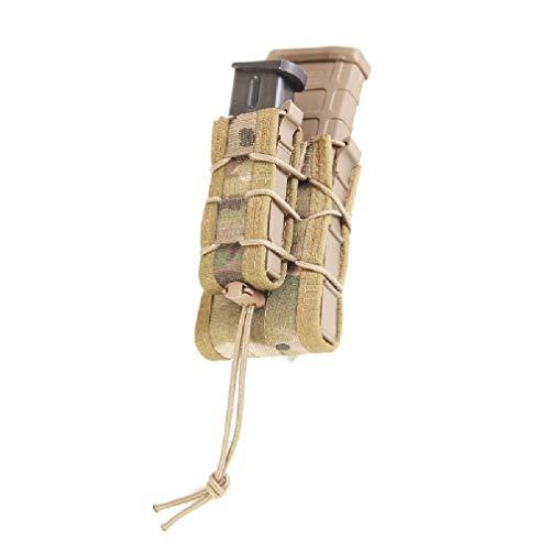 High Speed Gear - Sacoche à lacet, double poches- Sacoche à double poches pour chargeur de fusils et pistolets, avec ressorts pour une réponse rapide, Femme Mixte Homme, 11DD00, Camouflage multicolore, 1 Paqueto