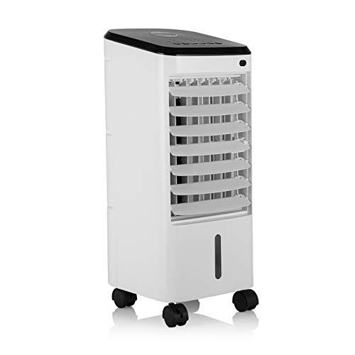 Tristar AT-5446 Mobiler Luftkühler 4 Liter, 3 Betriebsarten und Geschwindigkeitsstufen, Fernbedienung, Klimagerät mit Wasserkühlung, Nachtmodus, Weiß