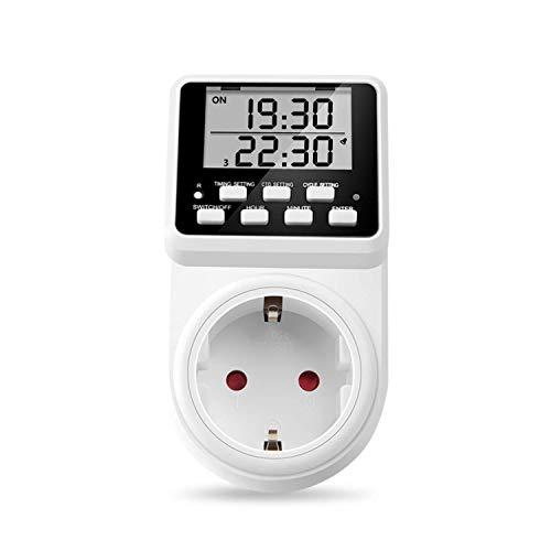 NOVKIT Intervall Digitale Zeitschaltuhr Steckdose mit unendlicher Zyklus(Minimale Einstellungszeit ist 1 Sekunde), 3 Täglichen Programme und Countdown für Innen (230V / 16A /3600W)