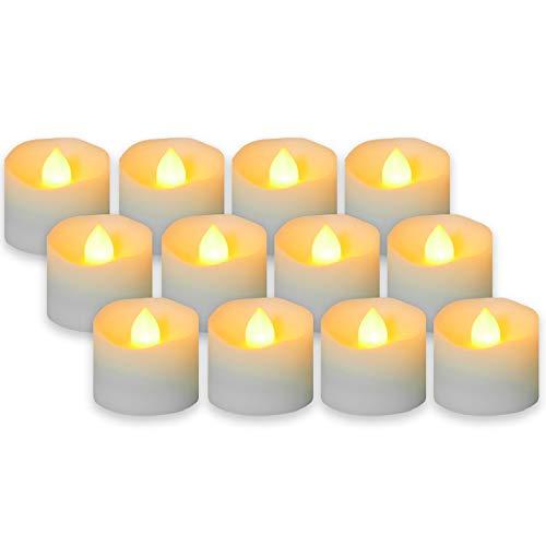 LED Teelichter mit Timer | Elektrische flackernde Kerzen | flammenlose Teelichter | automatisch 6 Stunden an & 18 Stunden aus|12 Stück, warm-weiß