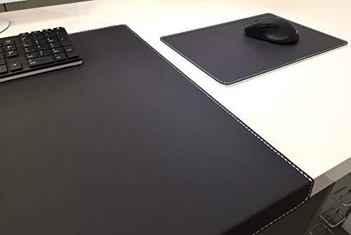 Hoekige bureauonderlegger met randbescherming + muismat echt leer zwart met witte hak 90 x 47cm echt rundleer glad