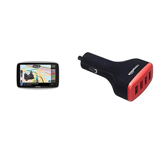 TomTom GPS para Coche GO Premium, 6 Pulgadas con tráfico y Alerta de radares Gracias a TomTom Traffic + Amazon Basics - Cargador de Coche, de 9,6 A / 48W, 4 Puertos USB